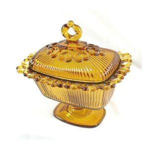 MCM Amber Glass Open Lace Edge Candy Dish w/lid